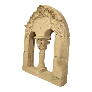 French Faux Stone Neo-Roman Style Window Theater Decor For Sale