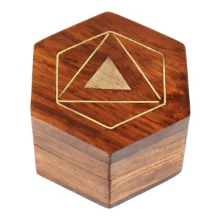 Mid 20th Century Vintage Hand Made Inlaid Brass Triangles Wooden Hexagon Box For Sale