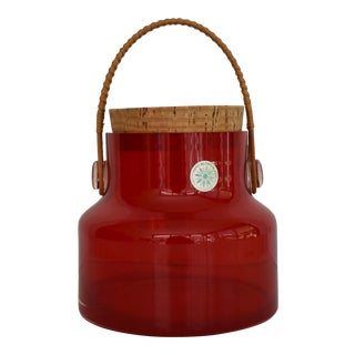 1960s Counterpoint Hand Blown Red Art Glass Jar With Cork Stopper For Sale