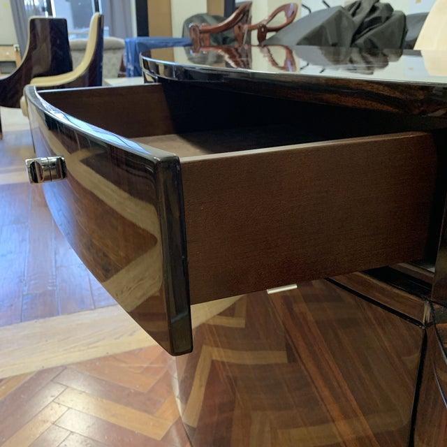 Metal Giorgio Luna Collection Ebony Makassar Curved Unit For Sale - Image 7 of 13