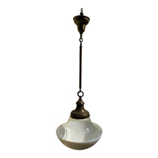 Vintage Brass Fixture With Farmhouse Schoolhouse Shade For Sale