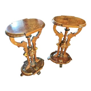 Exuberant American Walnut & Burl Pedestals, Kilian Bros,NYC CA.1870s - a Pair For Sale