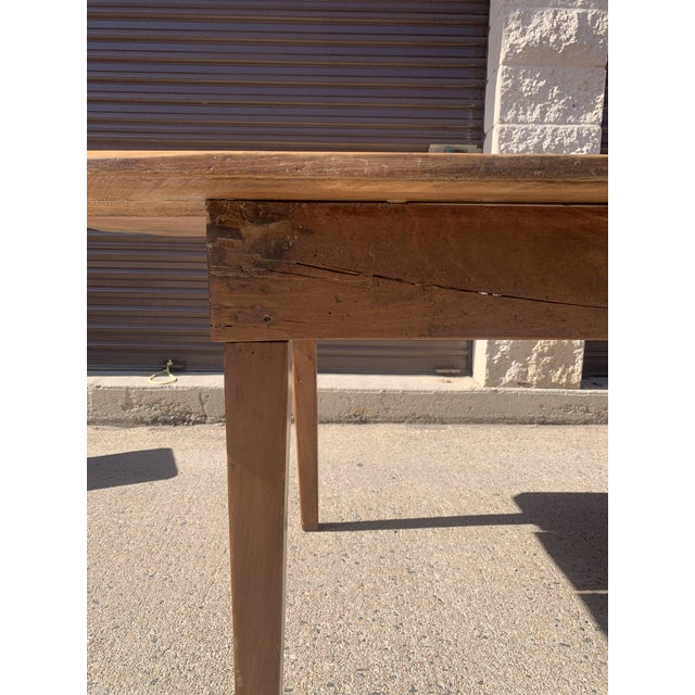Rustic Barnwood Plank Top Dining Table For Sale - Image 12 of 13