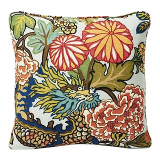 Schumacher Double-Sided Pillow in Chiang Mai Dragon Aquamarine Linen Print