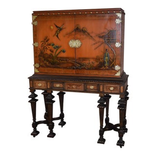 1940s Asian Carved & Inlaid Tudor Style Japanned Cabinet For Sale