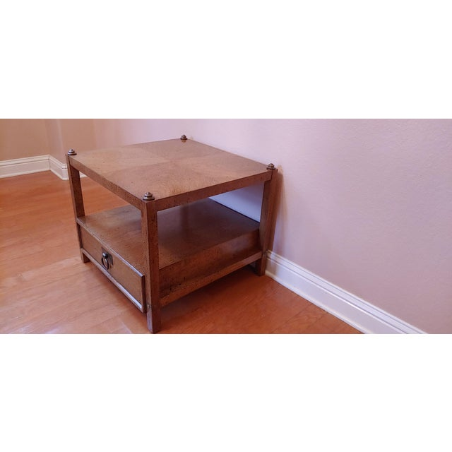 Mid-Century Modern Vintage Henredon Wood + Brass End Tables - a Pair For Sale - Image 3 of 13