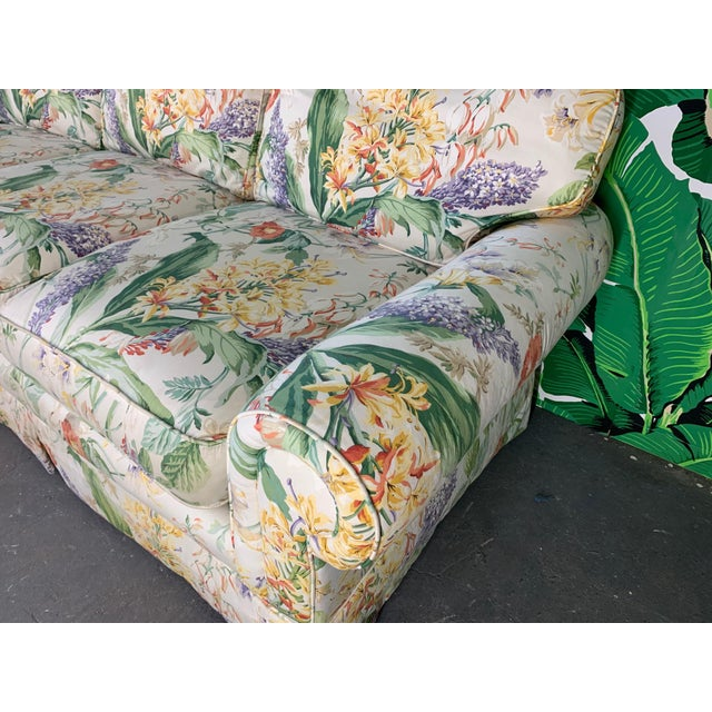 1980s Pair of Floral Upholstered Sofas by Robb and Stucky For Sale - Image 5 of 10