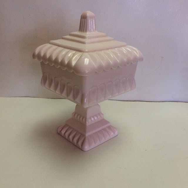 Vintage Pink Milk Glass Covered Candy Pedestal Bowl - Wedding Box For Sale - Image 9 of 9