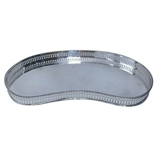 Vintage Silver-Plate Kidney Shaped Gallery Tray For Sale