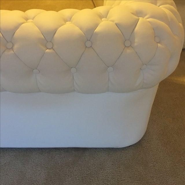 White Leather Tufted Back Sofa - Image 10 of 10