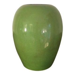 Vintage Chinese Apple Green Crackled Ginger Jar Vase, Signed For Sale
