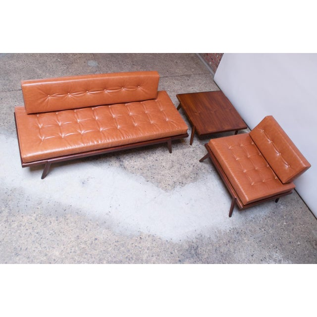 Mid-Century Walnut and Leather Daybed / Settee by Mel Smilow For Sale - Image 11 of 13
