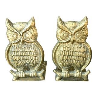 Vintage Brass Owl Bookends-a Pair