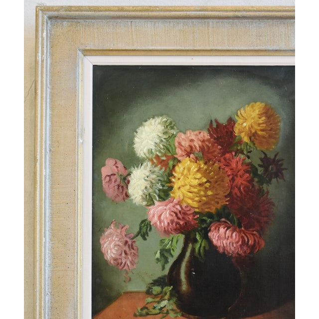 M E Wright Chrysanthemum in Vase Framed Floral Oil Painting For Sale In Los Angeles - Image 6 of 10