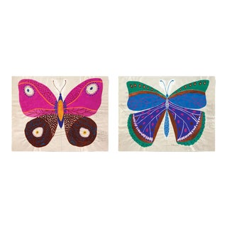 Paule Marrot, Butterfly, Unframed Artwork - A Pair For Sale