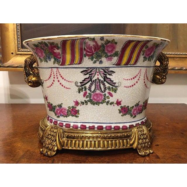 Ceramic Porcelain Cache Pots or Jardinières with a Floral Motif, 20th Century - A Pair For Sale - Image 7 of 10