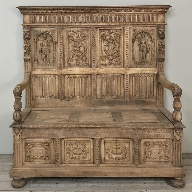 19th Century Italian Stripped Oak Hall Bench For Sale - Image 13 of 13