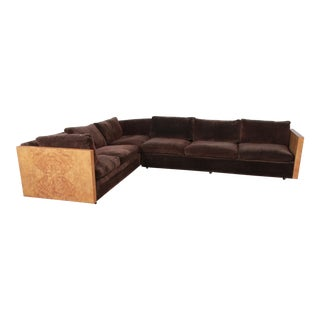 1970s Milo Baughman for Thayer Coggin Burl Wood Case Sectional Sofa For Sale