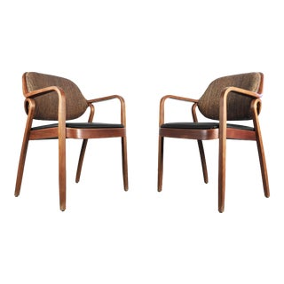 1970s Vintage Don Pettit Bentwood Armchairs for Knoll- A Pair For Sale