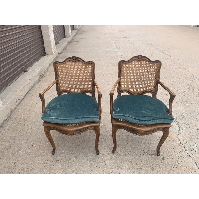 French Early 20th Century French Louis XV Style Walnut Caned Fauteuils- a Pair For Sale - Image 3 of 13