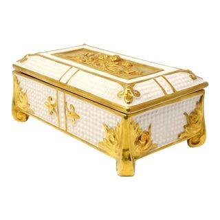 Vintage Charleton Ceramic Lidded Box With Gold Cherubim and Fleur-De-Lis For Sale