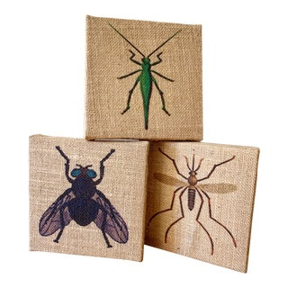 Set of Three Burlap Insect Bug Wall Decor For Sale