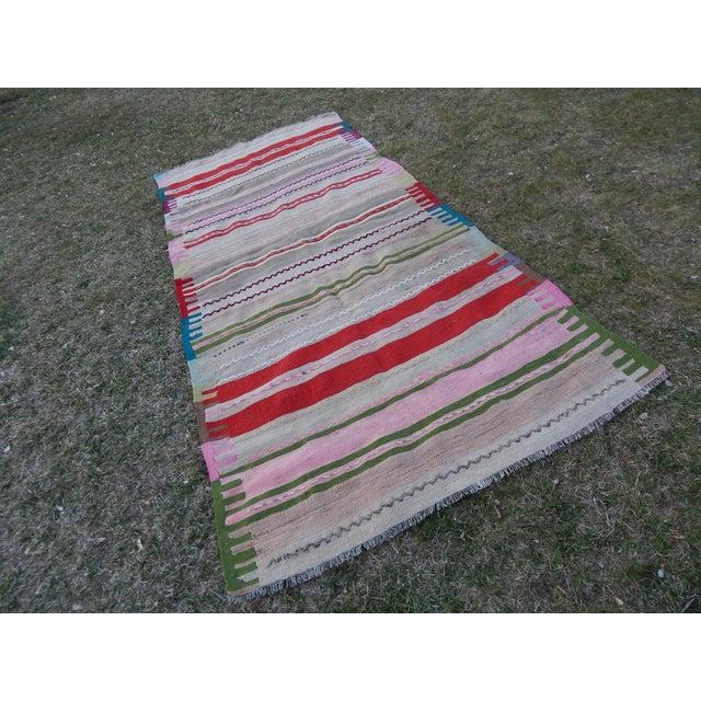 Boho Chic Vintage Wide and Long Turkish Kilim Rug 3'11'' X 8'3'' For Sale - Image 3 of 13