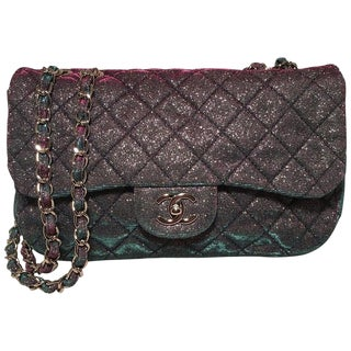 Rare Chanel Iridescent Glitter Multicolor Pink Blue Sparkle Jumbo Classic Flap For Sale