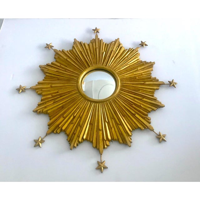 Baroque Exquisite Starburst Mirror With Antique Gold Leaf Finish For Sale - Image 3 of 13