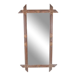 Tramp Art Wall Mirror For Sale