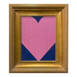 Ron Giusti Mini Heart Navy and Pink Acrylic Painting, Framed For Sale