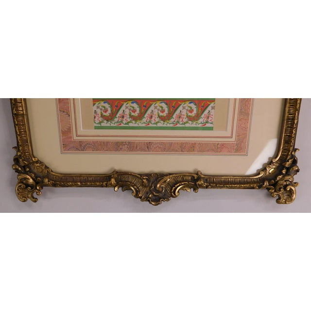 Rococo Gilt Framed Pair of Prints Showing Samples of Decorative Wallpaper Borders For Sale - Image 12 of 13