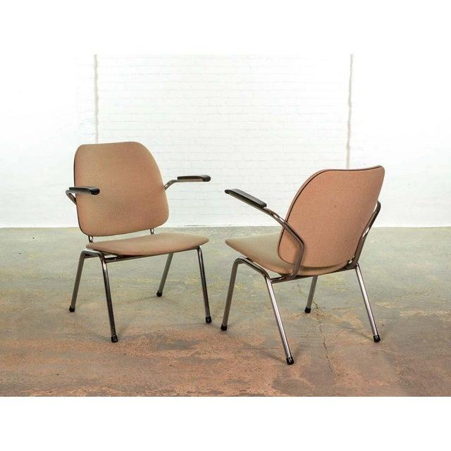 Gispen Mid-Century Dutch Design Armchairs on a Chrome Steel Tubular Frame by Martin de Wit for Gispen, 1960s For Sale - Image 4 of 7