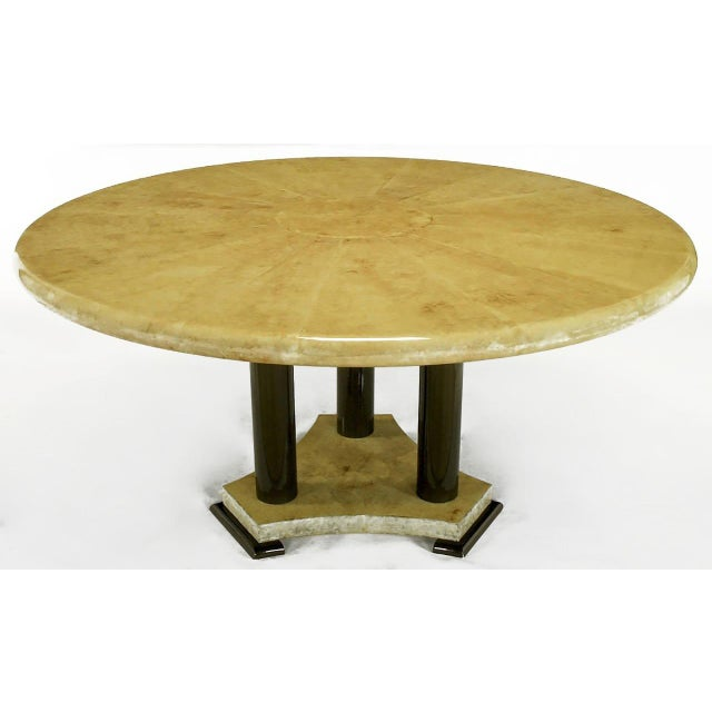 1970s Empire Dining Table with Sunburst Goatskin Top and Chocolate Lacquer Base For Sale - Image 5 of 9