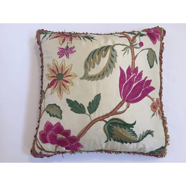 Vintage Colorful Silk Pillow With Spring Fresh Flowers Designs and Trim For Sale - Image 13 of 13
