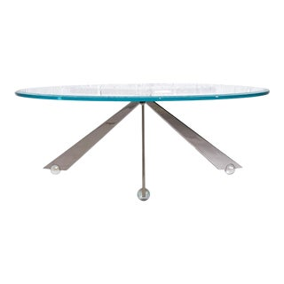Brueton Cristal Stainless Steel and Glass Coffee Table by J. Wade Beam For Sale