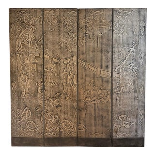 19th Century Japanese Four Panel Floor Screen For Sale