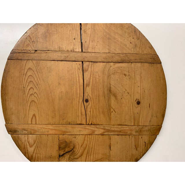 Early 20th Century Antique French Pine Boulangerie Round Breadboard For Sale - Image 11 of 13