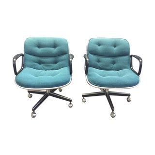Charles Pollock for Knoll Teal Blue Chairs For Sale