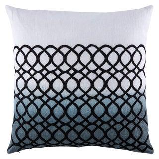 Nikki Chu by Jaipur Living Seville White/ Blue Geometric Down Throw Pillow For Sale