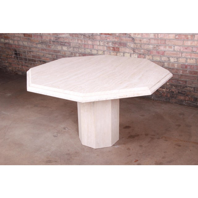 Modern Italian Travertine Octagonal Pedestal Dining or Center Table For Sale - Image 4 of 10