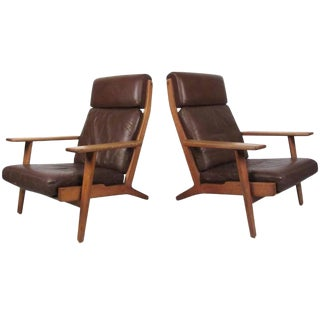 Pair of Mid-Century Hans Wegner Highback Lounge Chairs for Getama, Ge-290 For Sale