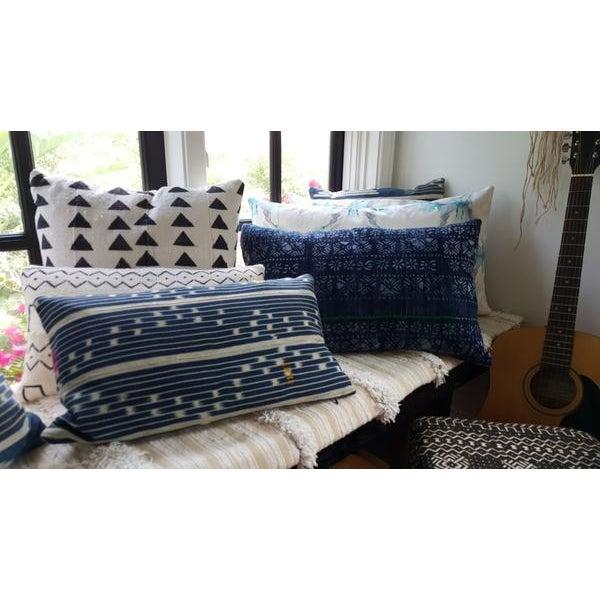 Vintage African Indigo Mudcloth Lumbar Pillow - Image 5 of 5