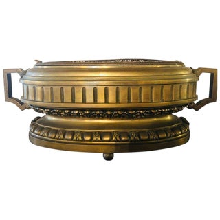 French Bronze Neoclassical Style Urn Flower Pot or Jardiniere With Handles For Sale
