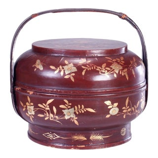 19th Century Chinese Qing Dynasty Lacquered Wedding Basket For Sale