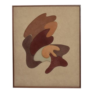 Mid Century Modern Abstract Wall Art in Suede-Leather For Sale