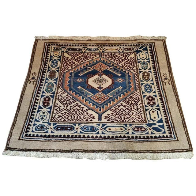 Early 20th Century Vintage Afghan Tribal Square Prayer Rug- 3′7″ × 3′8″ For Sale - Image 11 of 11