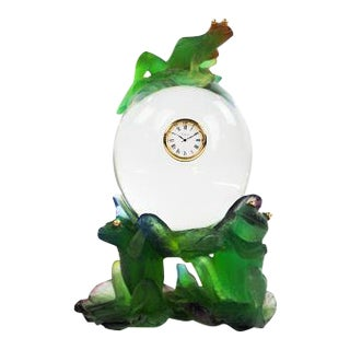 Daum Clock, Frog on Crystal Lily Pad For Sale