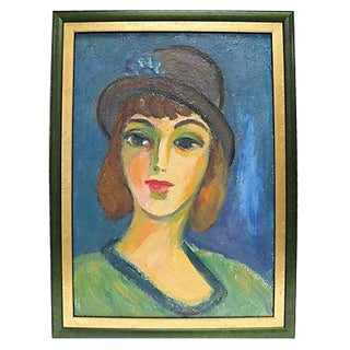 Mid-Century French Oil Portrait Of A Woman
