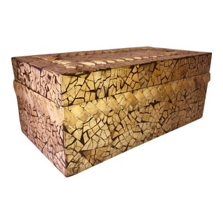 Fabulous Large Rectangular Carved Coconut Shell Box For Sale